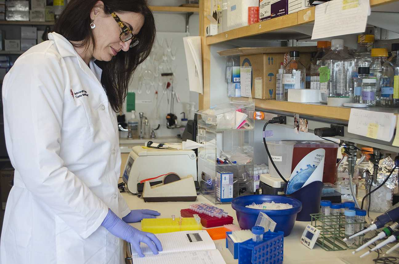 Case Western Reserve University School of Medicine Dermatology Professor Nicole Ward works in her lab. Ward holds a doctorate in neuroscience, but her research interests lie in vascular biology.