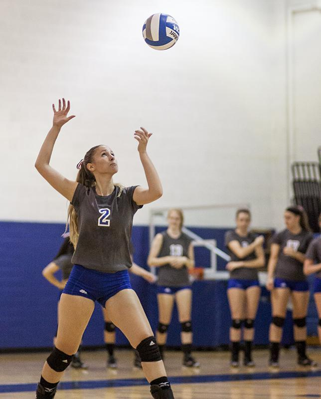 Lauren+Gurd%2C+serves+in+Wednesday+night%E2%80%99s+match+versus+Mount+Union.+The+Spartans+fell+to+a+4-5+overall+with+a+loss.