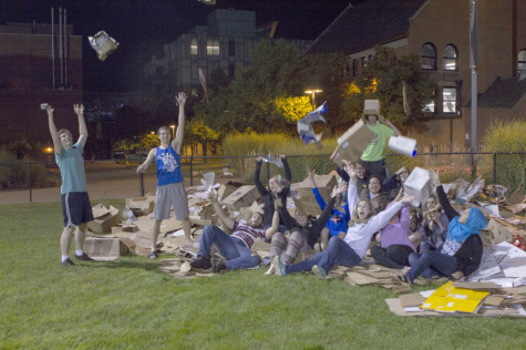 Students build cardboard creations at Habitat for Humanity event