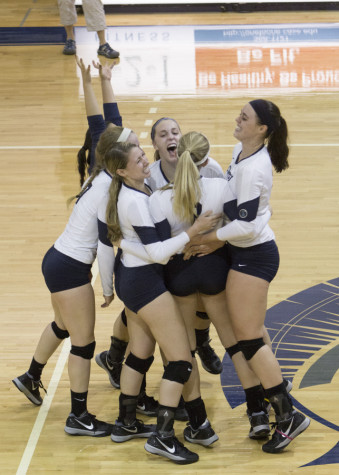 Volleyball battles to victory in home finale