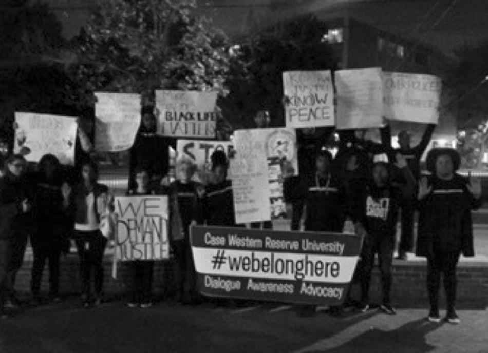 Students+protest+as+part+of+the+%23webelonghere+movement+outside+of+Leutner+on+Oct.+22.