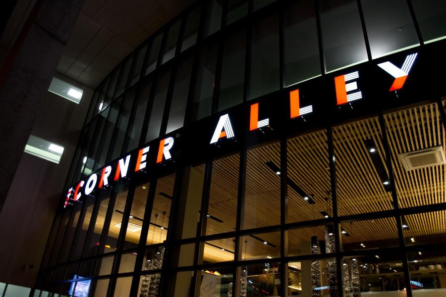 The+new+Corner+Alley+sign+entices+visitors+to+the+highly+anticipated+venue.