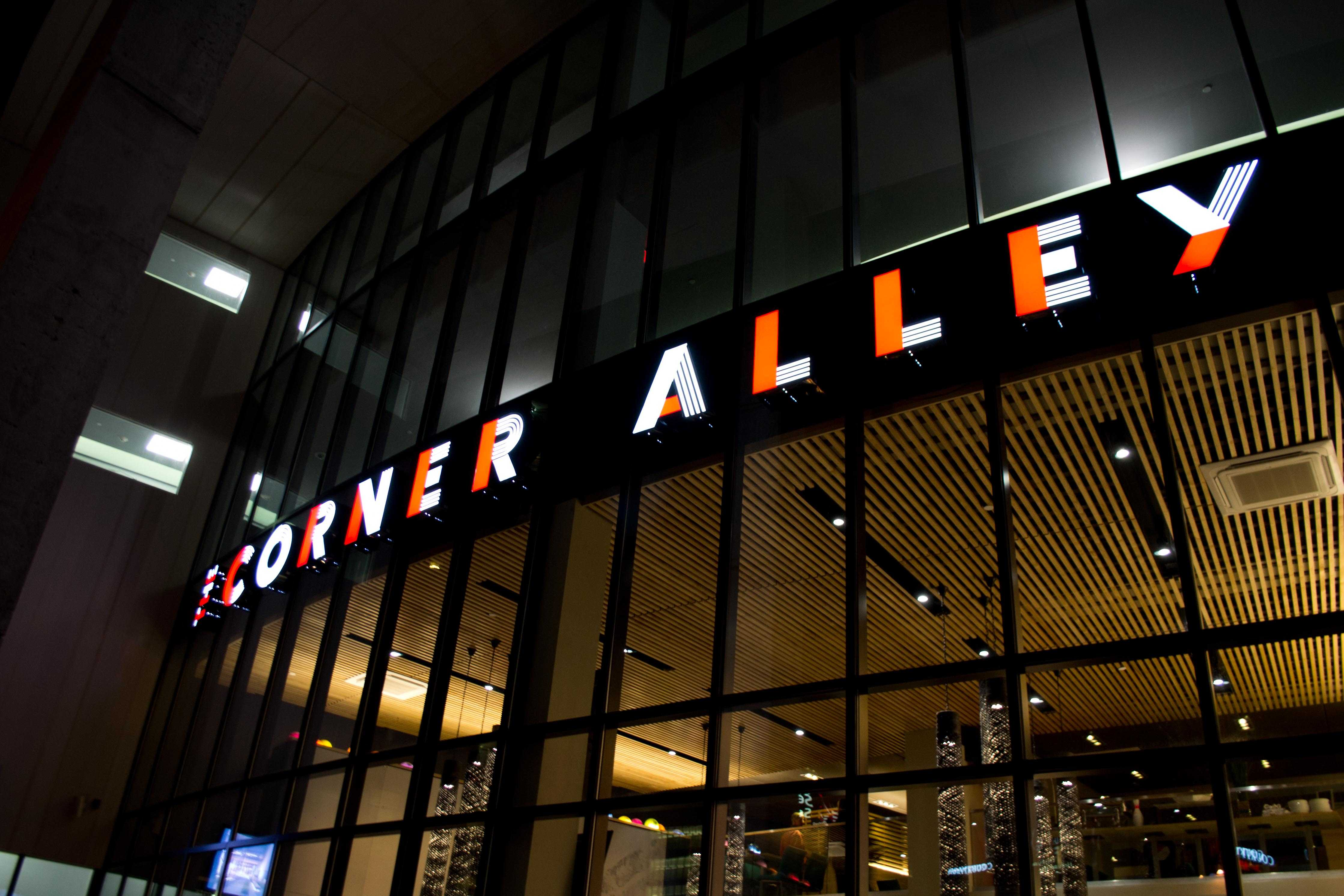 The new Corner Alley sign entices visitors to the highly anticipated venue.