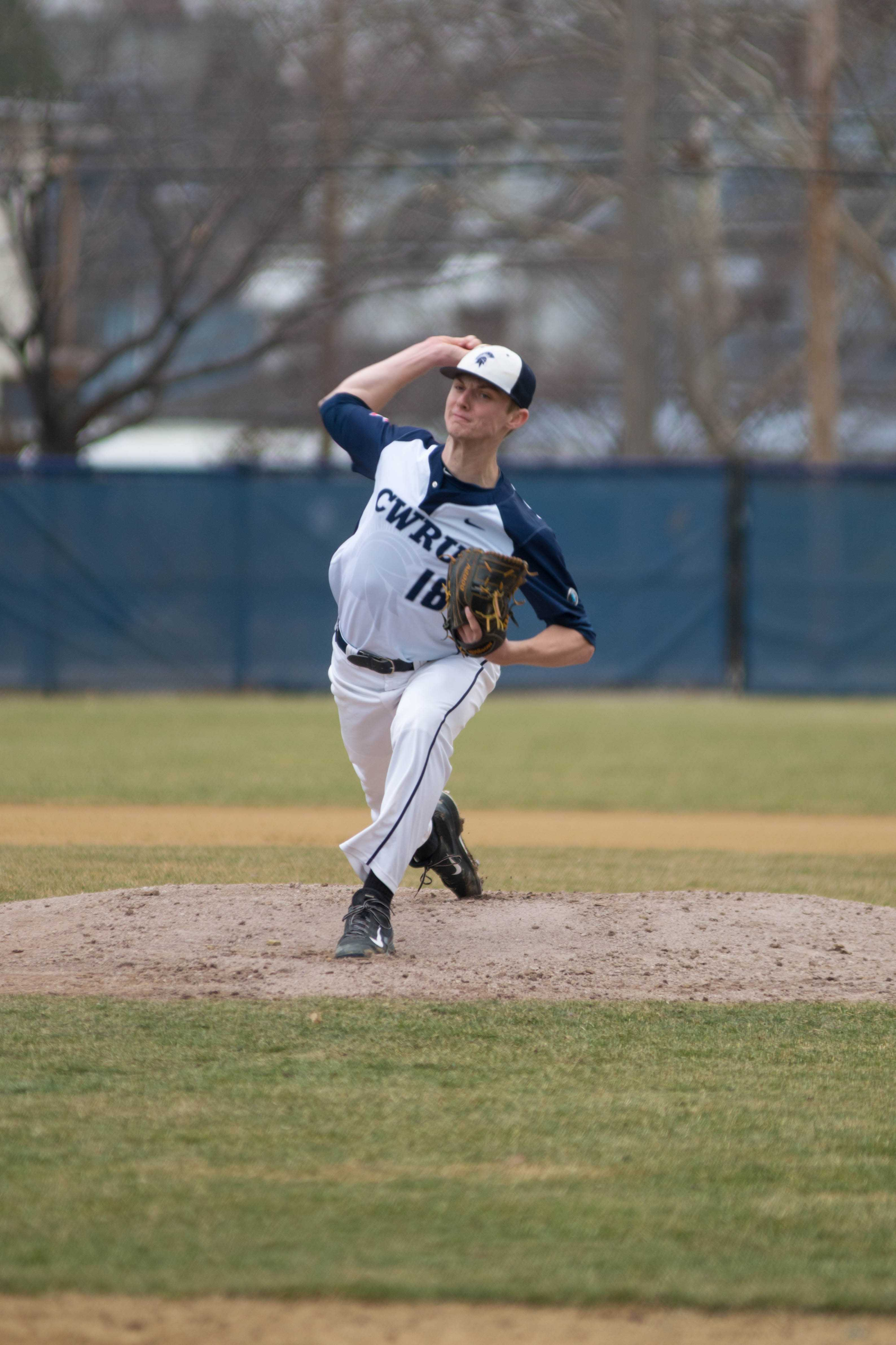 Senior Pitcher Andrew Rossman prepares to pitch during the Spartan's game against Otterbein last week.
