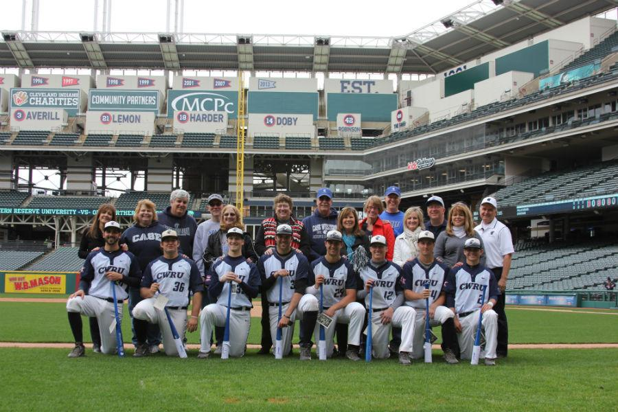 The+baseball+team+honored+their+graduating+seniors+prior+to+their+annual+game+at+Progressive+Field+game.+The+Spartans+won+3-2+over+Ohio+Northern.+