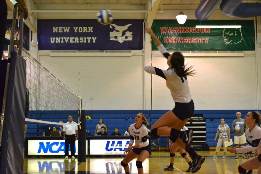 Marian+Barton+fires+off+a+spike+in+the+CWRU+win+over+Mt.+Union+Wednesday+night+as+the+Spartans+continue+to+stay+undefeated+on+the+season.
