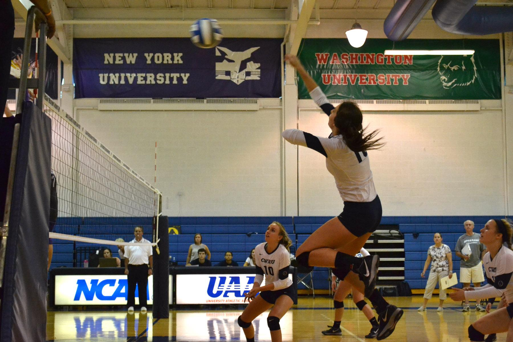 Marian Barton fires off a spike in the CWRU win over Mt. Union Wednesday night as the Spartans continue to stay undefeated on the season.