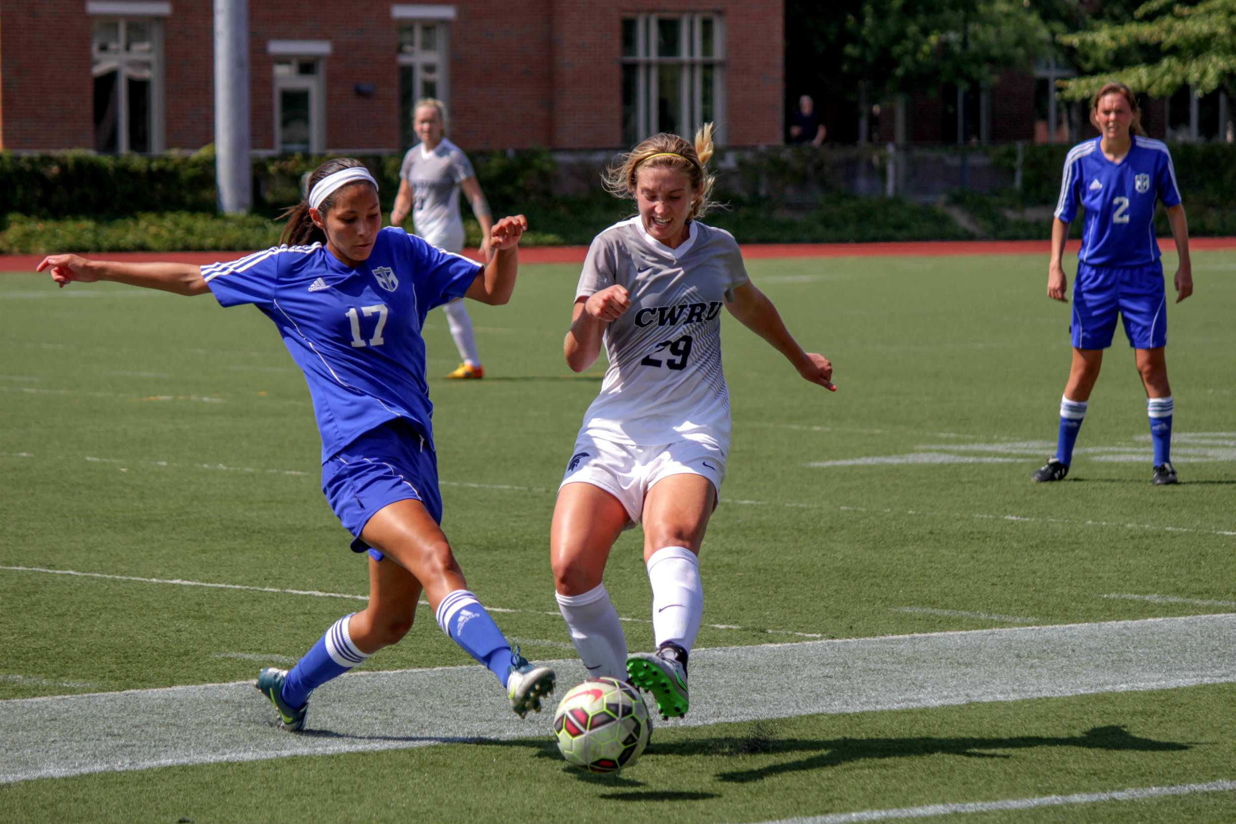 CWRU defender Elle Zadina fights for possession against a Thomas More forward. The Spartans battled the  #8 Saints to a scoreless draw this weekend.