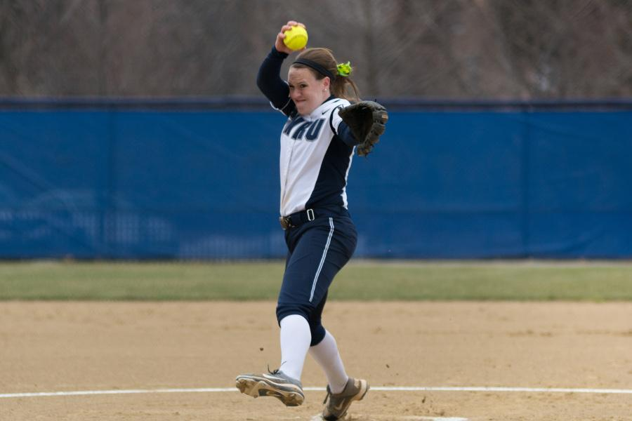Annie Wennerberg pitched a solid game for the Spartans against Ohio Northern, a big help for the Spartans in sweeping the Polar Bears.
