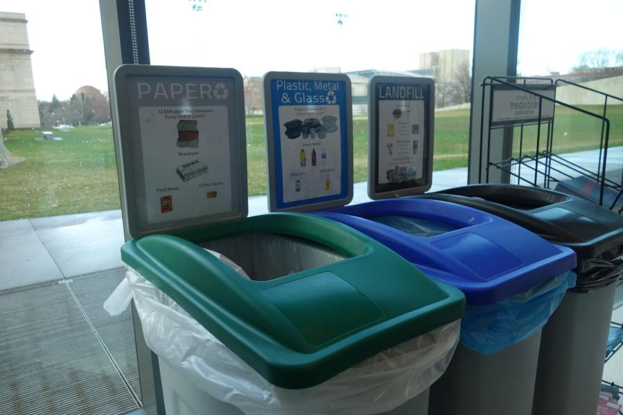 Recycling and garbage cans at the Tinkham Veale University Center. Decisions made concerning the enviroment can be made in more places and more often than generally thought.