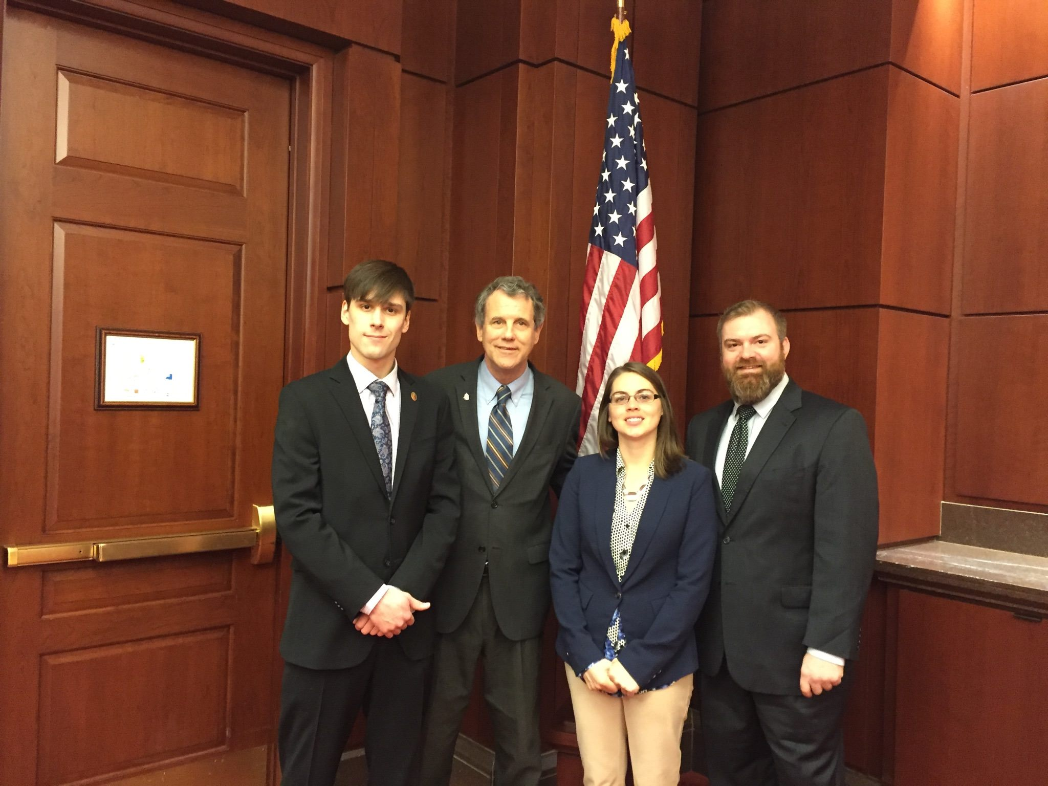 Jack Turner, the Vice-Chair of the Northeast Ohio Group of the Sierra Club Chapter of Ohio, meeting with Senator Sherrod Brown. From left to right, Jack Turner, Sherrod Brown, Samantha Allen, a staff member of Senator Brown and Dan Sawmiller, a senior campaign representative of the Sierra Club.
