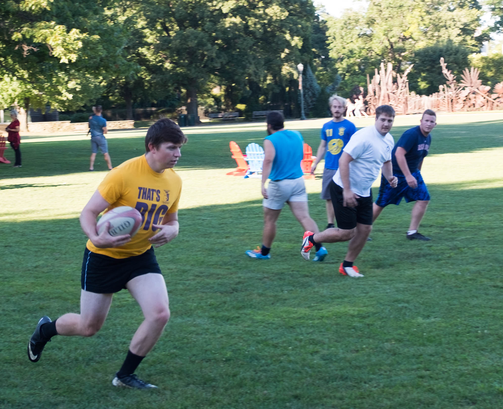 Members of the CWRU Rugby Football Club practice at Wade Oval last Friday before their opening game this week