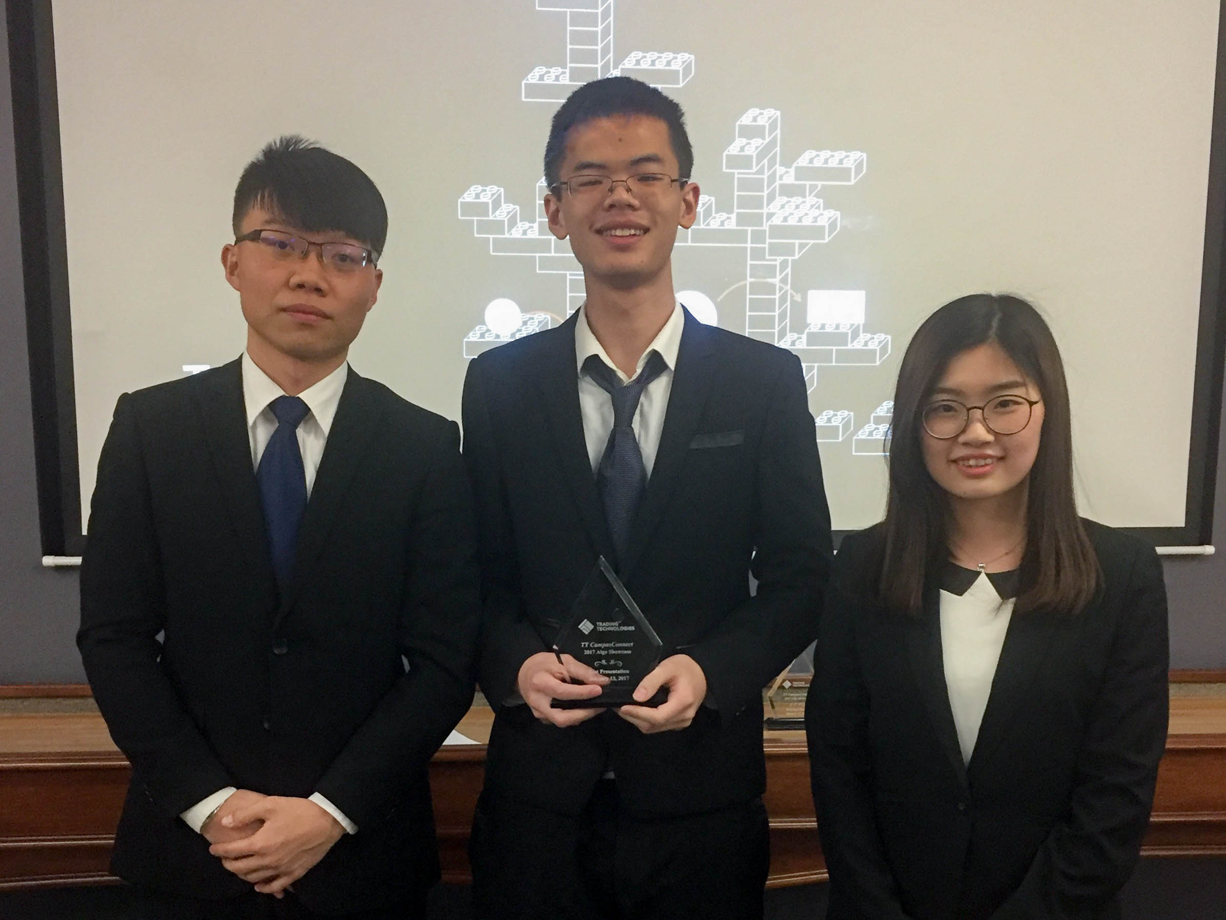 Five CWRU graduate students won the Best Presentation Award at the 2017 Trading Technologies Algo Showcase Competition. The team worked together to design a trading algorithm that can optimize trading strategies. Three of the five members presented their trading algorithm to a panel of judges from leading Chicago trading firms.