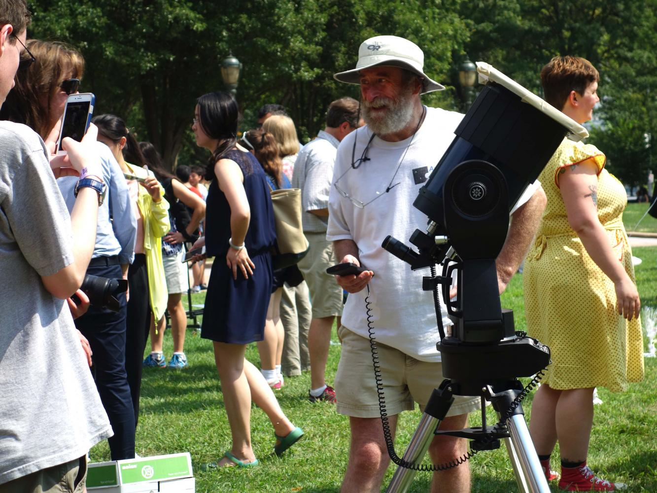 Many viewed the eclipse from the Warner and Swasey Observatory or the Kent Hale Smith Oval.