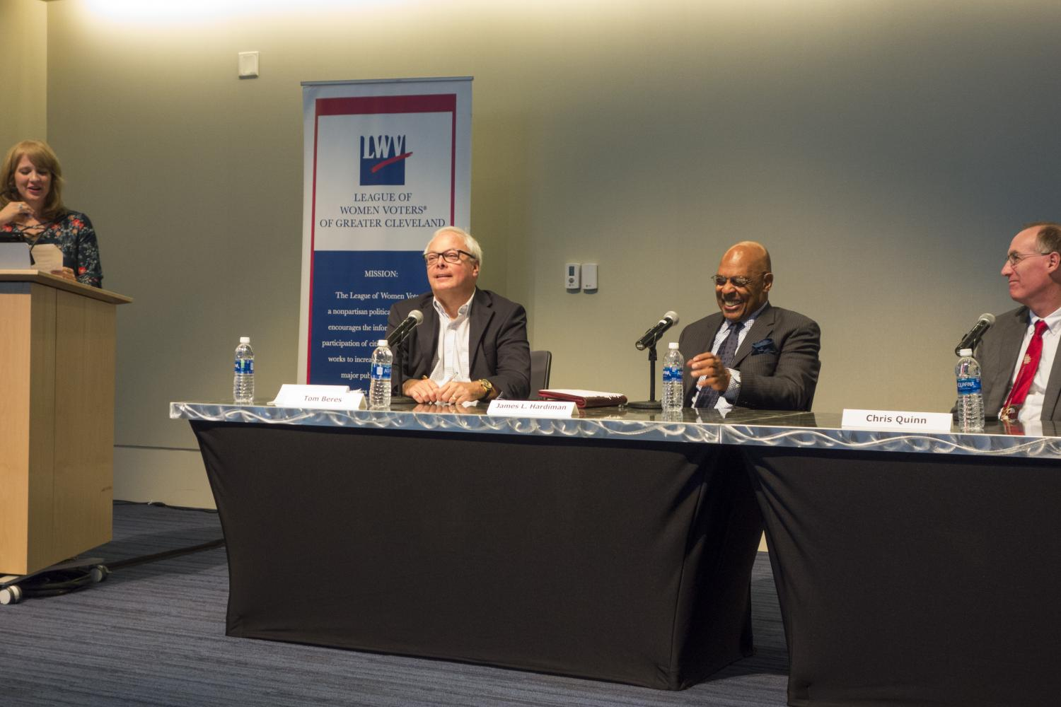 Panelists+visited+CWRU+to+participate+in+a+forum+sponsored+by+the+Siegal+Learning+Center.+They+discussed+the+future+of+Cleveland+and+the+mayoral+elections.