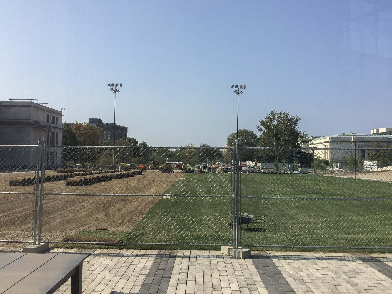 The Nord Greenway project is beginning to look a bit more green with the installation of sod on Frieberger Field. The project is expected to be completed in 2019.