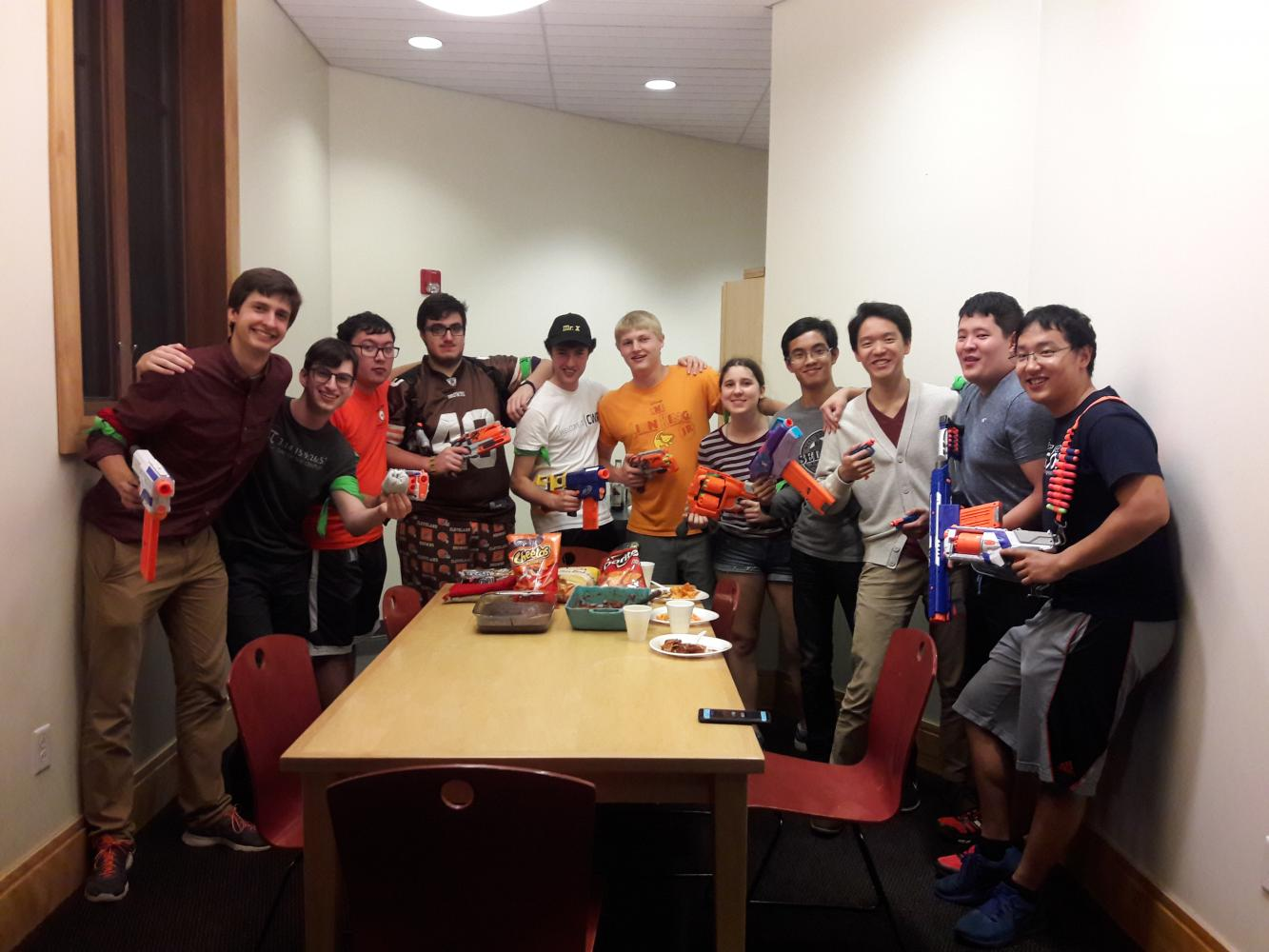 HvZ players conduct a secret strategy meeting. The game has been played at CWRU nearly every semester for seven years.