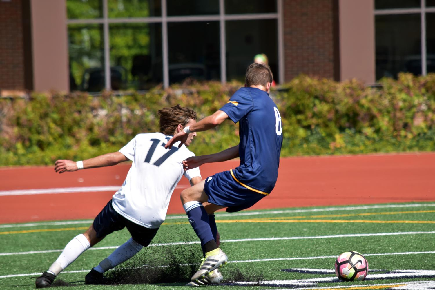 Second-year midfielder Marques Manta chases the ball during a game earlier this season.