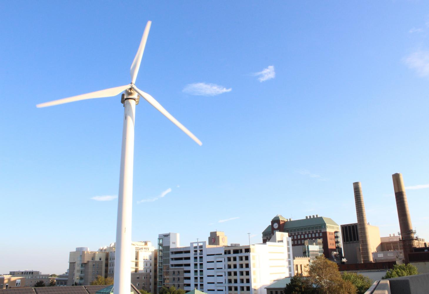 Case Western Reserve University's famous wind turbine helps power the Veale Center. The turbine was one of the first steps of many toward a more sustainable campus.