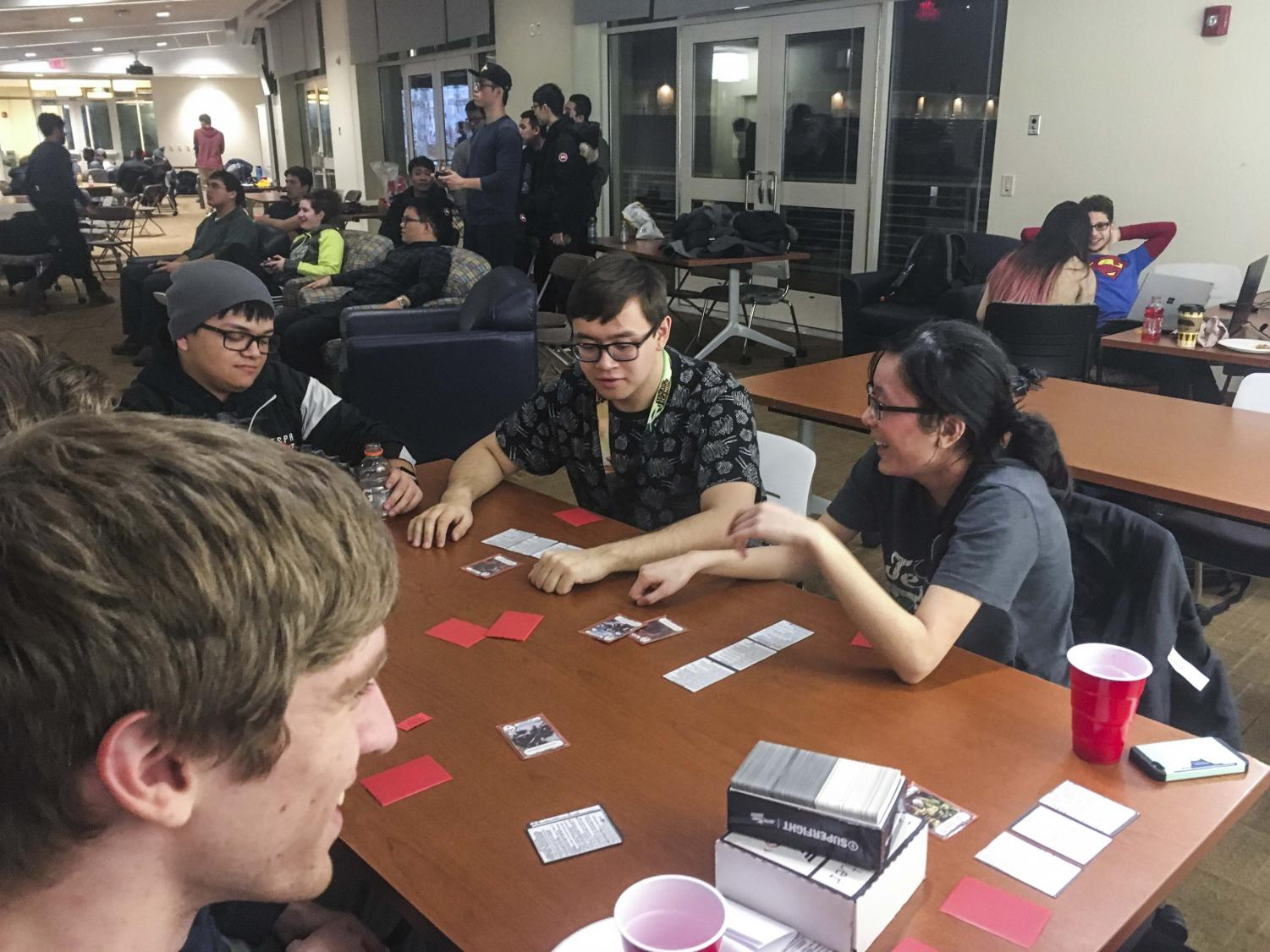 Taking a break from competing, students played a few card games to pass the time.