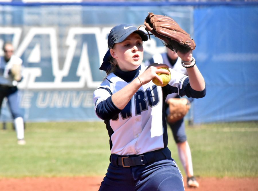 Second-year+pitcher+Ilissa+Hamilton+has+performed+exceptionally+well+on+the+mound+for+the+softball+team+with+a+3.30+ERA.