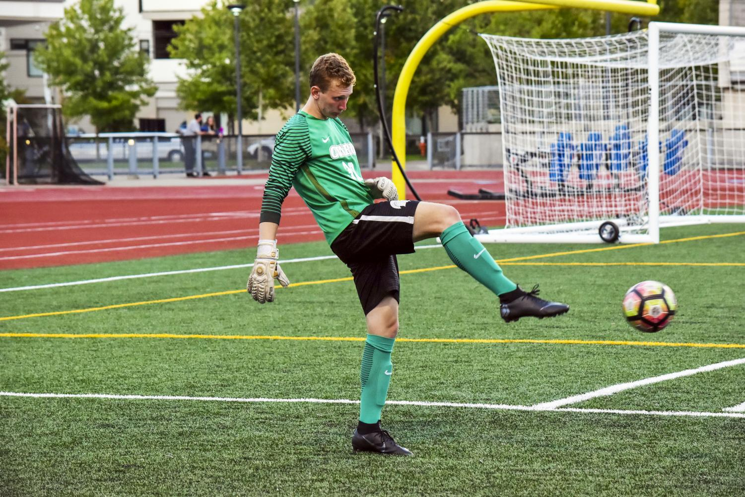 First-year goalkeeper Charlie Fink has been crucial to the Spartans' success this season. The 6'3