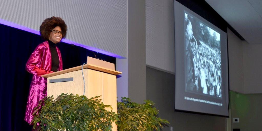 Keynote speaker at MLK Convocation, LaToya Rose Frazier