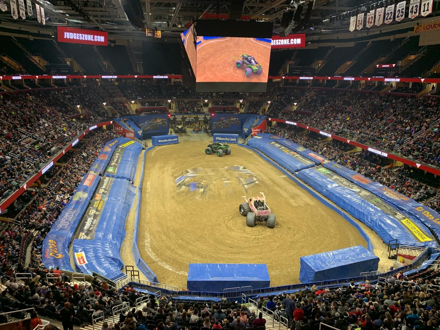 Monster trucks, louder than expected, drive at the Quicken Loans Arena as part of Monster Jam.