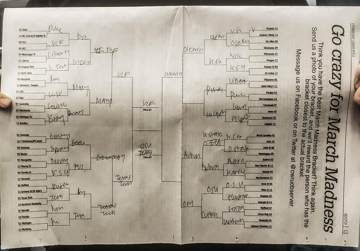 March Madness brackets are a ritual for many. Above is just one of the many brackets that have been created this year.