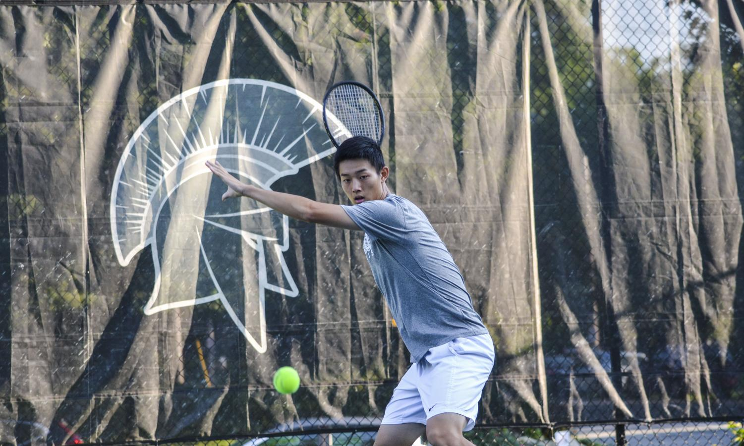Second-year Spartan Matthew Chen maintains focus while competing at Carlton Courts.