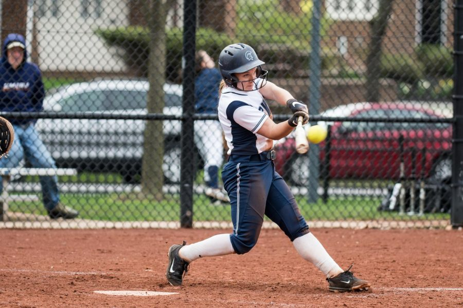Nicole+Doyle+connects+with+a+pitch.+Doyle+was+honored+last+Saturday+for+the+softball+team%E2%80%99s+Senior+Day.+In+her+time+on+the+team%2C+Doyle+has+helped+the+Spartans+go+97-60+over+the+last+four+seasons.