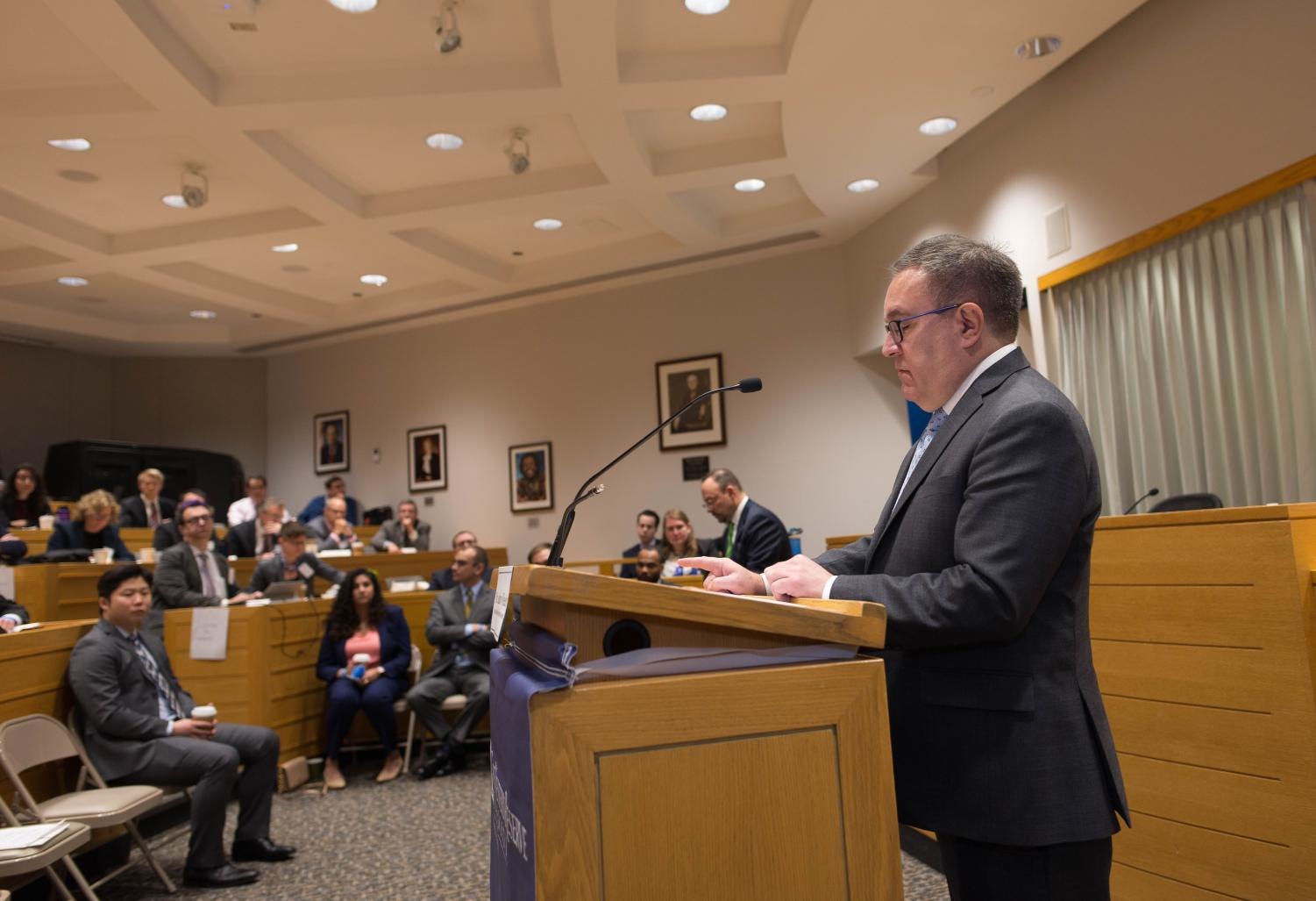 EPA Administrator Andrew Wheeler speaking at the inaugural symposium at the Coleman P. Burke Center for Environmental Law.
