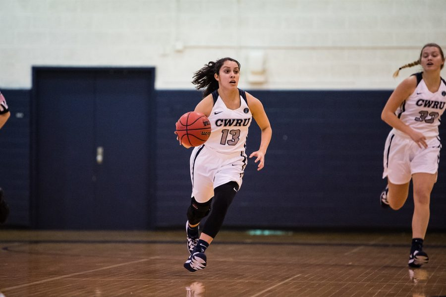 Alicia+Marie+Gonzales%2C+dribbles+the+ball+up+the+court+against+Juanita+College%2C+who+CWRU+beat+70-46+after+a+rough+first+quarter+