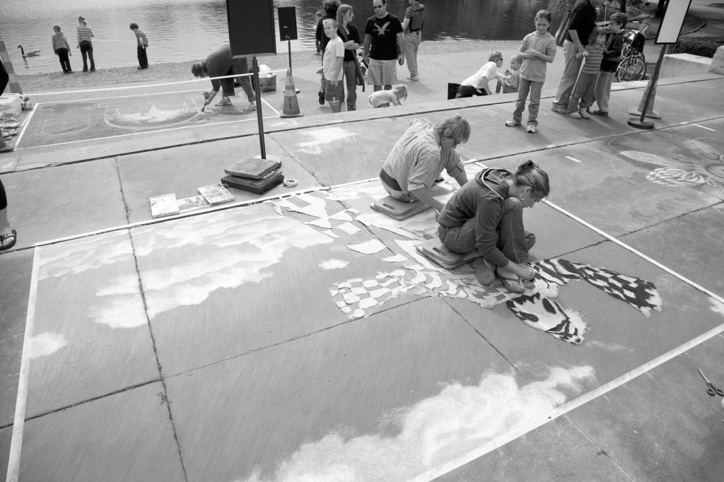 Artists and other community members chalk up CMA