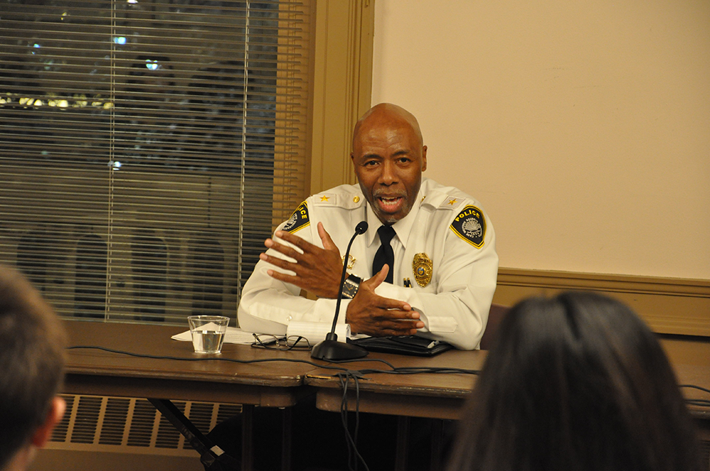 "Campus police chief speaks during this past Wednesday's ""Guns, Our Community and Safety"" debate hosted by Share The Vision and The Observer."