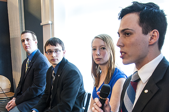USG presidential candidate Dan Gallo speaks during Wednesday's debate with Colin Williams, Matt McKee and Taryn Fitch. Election day is quickly approaching with polls opening on Apr. 8.
