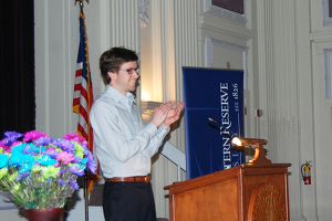 Outgoing Undergraduate Student Government president James Hale speaks at Tuesday's Dorothy Pijan Student Leadership Awards ceremony.