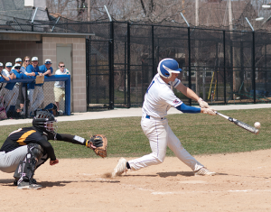 Senior Matt Keen launches one of his team-leading 27 hits. Keen leads the team with 11 doubles and 25 RBIs.