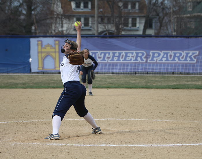 Freshman+Rebecca+Molnar+is+second+on+the+team+in+pitching+with+3.45+ERA.+Molnar+picked+up+her+second+save+of+the+season+with+a+three+inning+no-hit+relief+effort+against+Mount+Union.