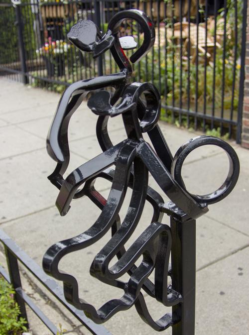 These wrought iron sculptures line the sidewalks of Coventry Road, home to many busineses and students.
