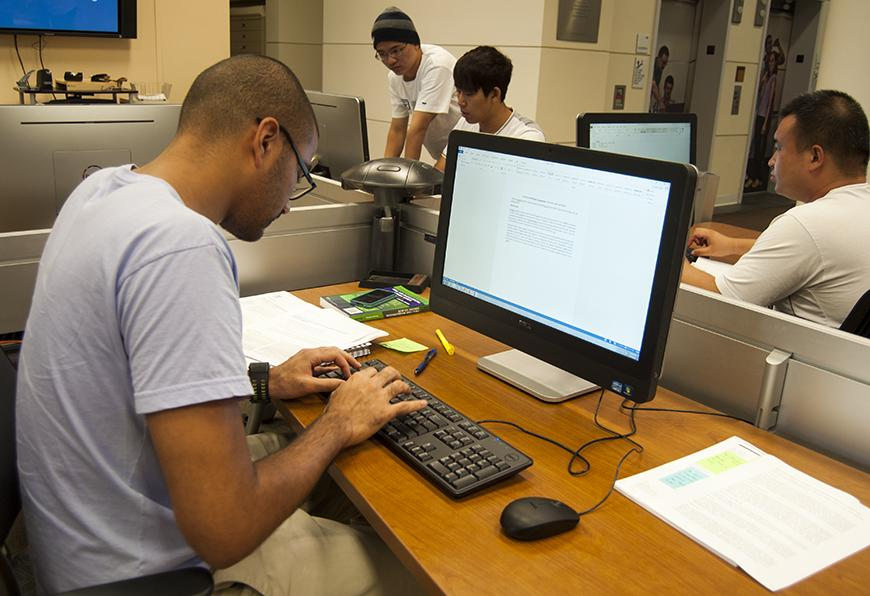 A student utilizes one of Kelvin Smith Library's 34 new Dell computers. The machines were upgraded this summer after a half decade of use.