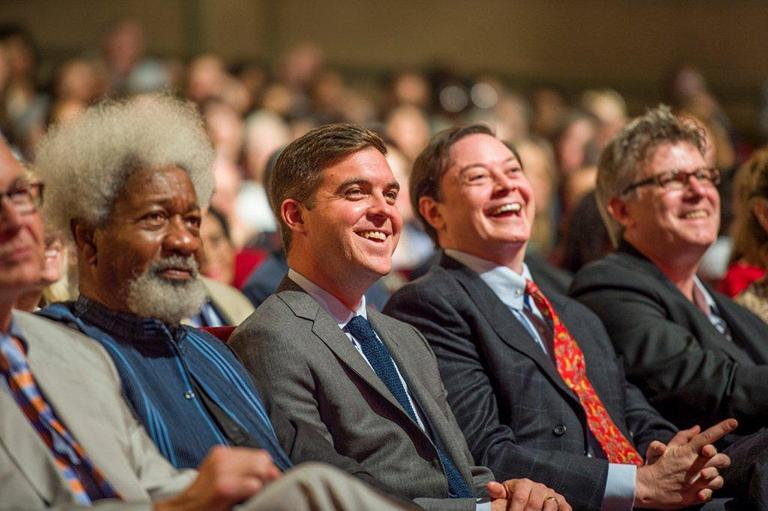 Many literary figures came to the Ohio Theatre to celebrate the 78th Annual Ainsfield Wolf Award Winners. From left to right, Wole Soyinka, Kevin Powers, Andrew Solomon and Laird Hunt enjoy the presentations. Eugene Gloria, the winner in poetry, isn't shown.