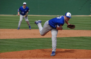 Spartan pitcher Rob Winemiller fires home during UAA Championship Tournament in Florida