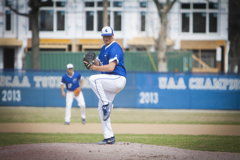 Spartan reliever Neal Krentz focuses on home against Bethany College on Sunday.
