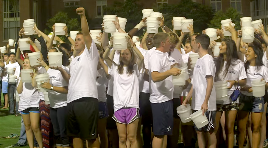 Students complete the ALS Ice Bucket Challenge after taking their class picture on August 19. Courtesy youtube.com/user/case