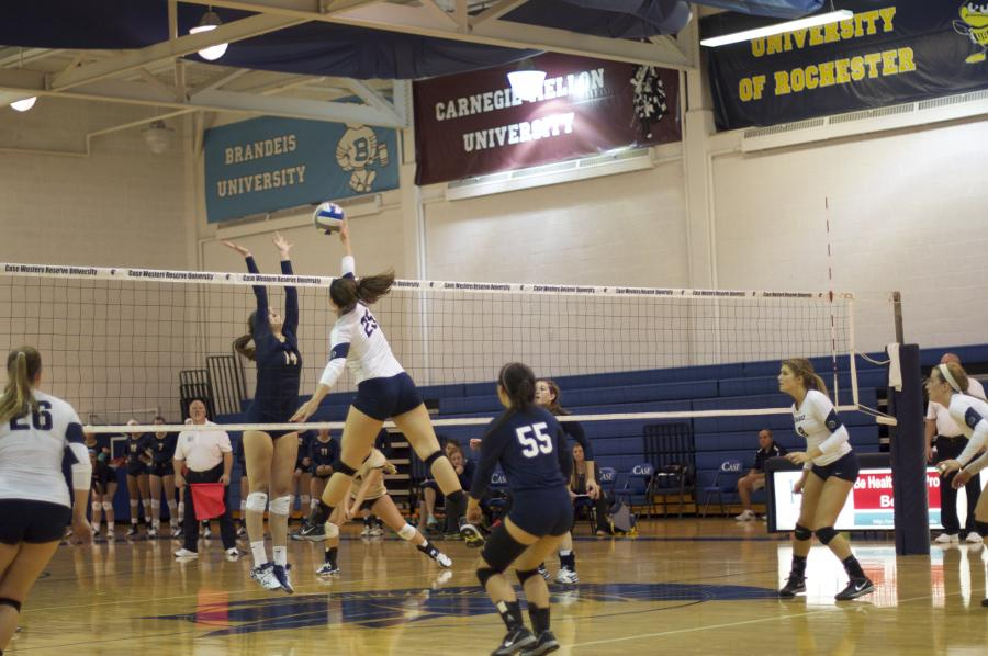 Kayla Pafaff in perfect position for the kill in a volleybal match against John Carroll University last Wednesday