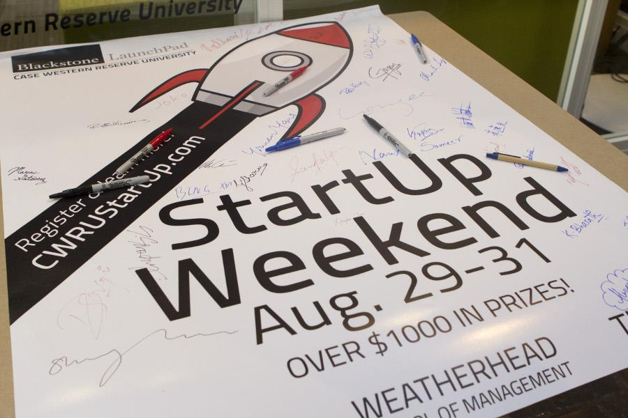 Students, staff, and alumni participate in Blackstone LaunchPad's StartUp Weekend. Harsha Chanduplatla/Observer