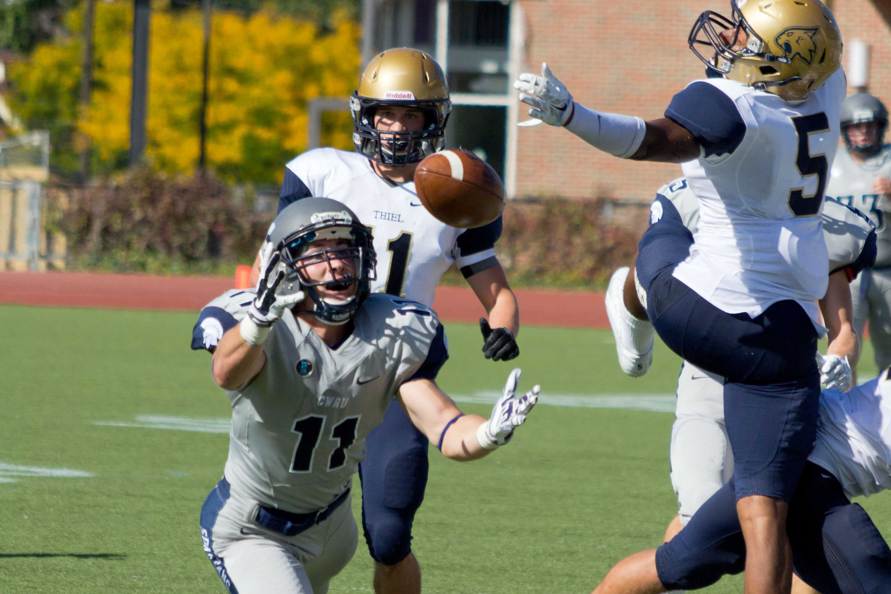 Junior wide receiver Dan Cronin catches a big pass back in the Spartan's win over Thiel on Sept. 27th at home.