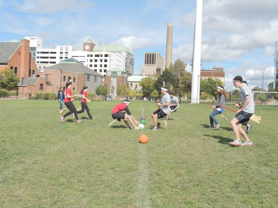 Teams+of+students+square+of+in+the+CWRU+Quidditch+Club%E2%80%99s+inaugural+tournament+on+Van+Horn+field.