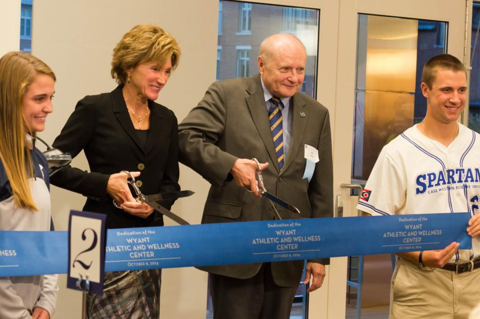 President+Barbara+R.+Snyder+and+building+namesake+and+major+donor+Dr.+James+Wyant%2C+a+Case+Institute+of+Technology+alumnus+cut+the+ribbon+dedicating+the+new+Wyant+Athletic+and+Wellness+Center.